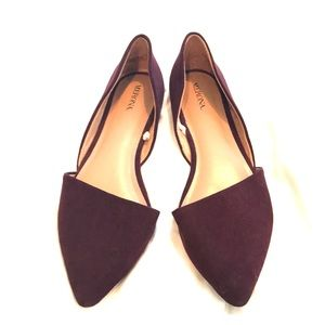 Burgundy Women's Flats Pointy Toe